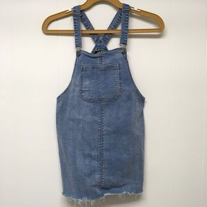 Bib Overall Dress Denim Large Frayed Hem